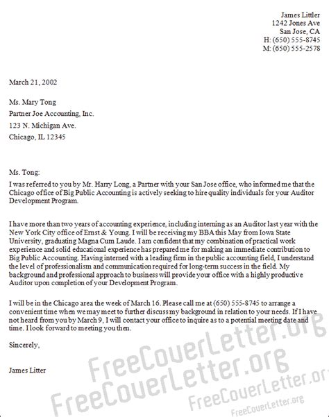 Cover Letter For Application Auditor Auditor Cover Letter Sle