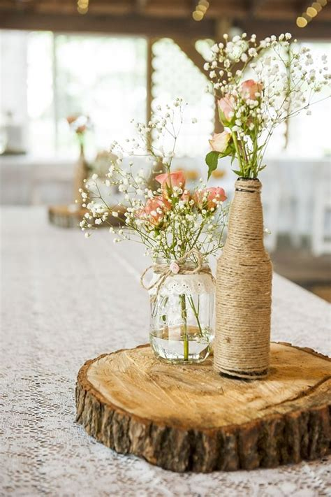Handmade Centerpieces - rustic and handmade hunt club farm wedding by eyecaptures