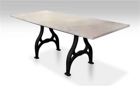 antique marble dining table with iron industrial base