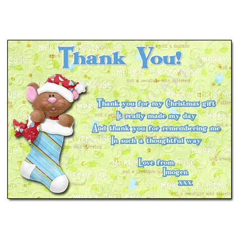 stocking christmas thank you note