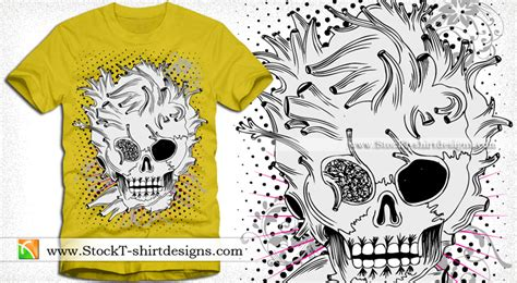Kaos Skull Flower vector skull with floral vintage t shirt design stockt