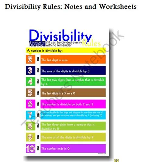 printable quiz on divisibility rules divisibility rules rule from miss bogart s bountiful