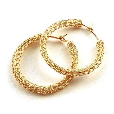 Handmade Gold Earrings - medium crochet gold hoop earrings handmade casual hoops unique