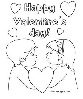 Happy Valentines Day Hearts Coloring Pages Printable Happy Valentines Day Hearts Coloring Pages