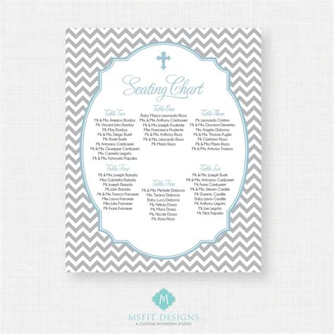Guest Seating Cards Template by Baptism Seating Chart Christening Seating Chart Table