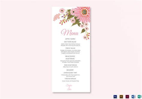 menu cards for weddings free templates 42 sle menu cards sle templates