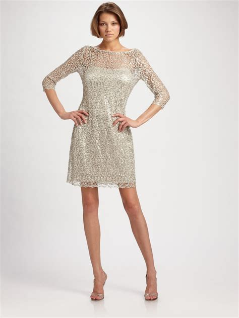 beaded lace dress unger beaded lace dress in metallic lyst