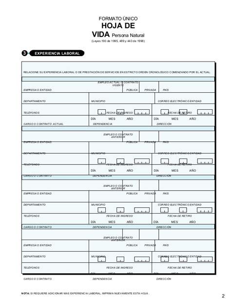 hoja de vida editable en pdf formato unico colombia fomato unico hoja de vida editable
