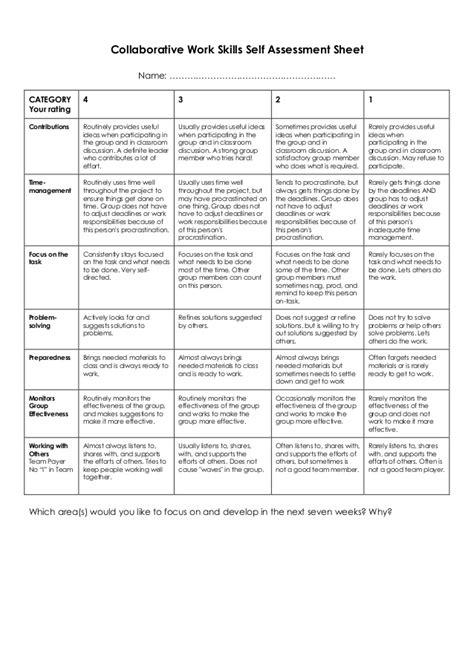 collaborative work skills  assessment sheet