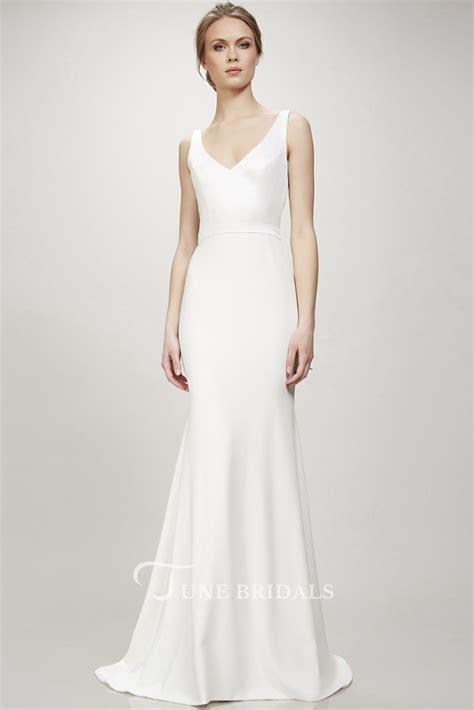 long  neck wedding dress  sweep train