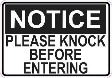 5in x 3 5in notice please knock before entering sticker