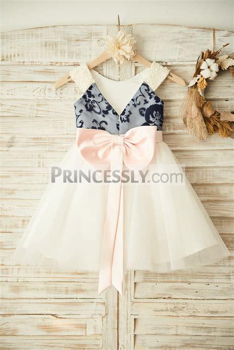 Dress Anak Pink Flower Belt Import v back navy blue lace ivory tulle wedding flower dress with pearl blush pink bow belt