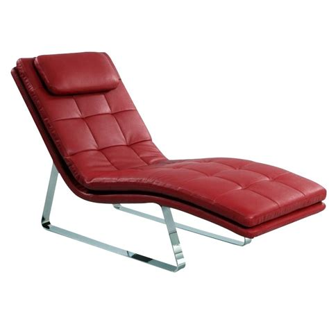 red chaise lounge chintaly corvette leather chaise lounge with chrome legs
