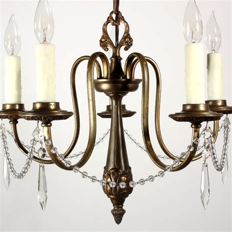 Antique Brass Chandeliers For Sale Beautiful Antique Five Light Brass Chandelier By Beardslee Nc1171 For Sale Antiques