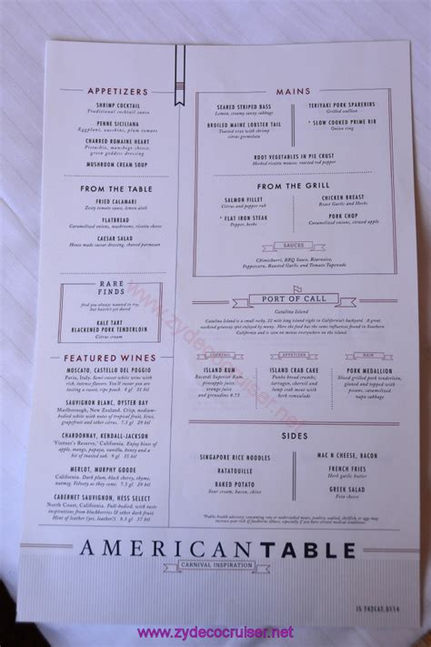 carnival cruise american table menu punchaos