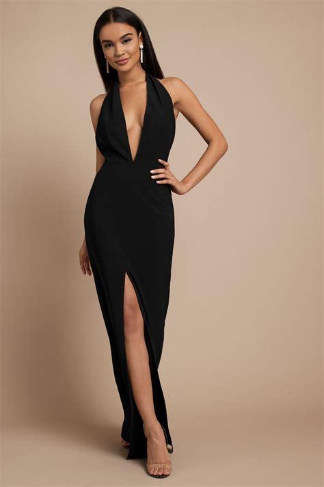 black maxi dress black dress deep  dress tobi gb