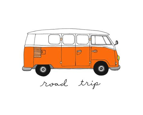 Volkswagen Bus 5x7 Illustration Art Print By Coco Draws