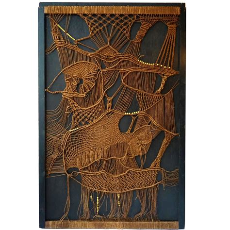 Macrame Rope For Sale - 1970s macram 233 panel of woven and beaded rope tapestry for