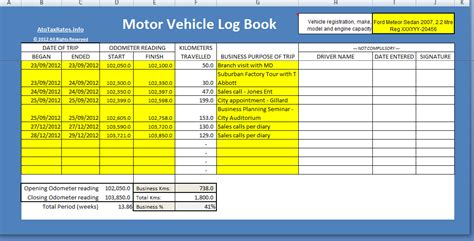 template of vehicle log book log book method atotaxrates info