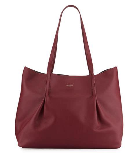 Fiore Claudette Pleated Frame Bag by Ricci Ondine Calf Tote Bag Bordeaux Neiman