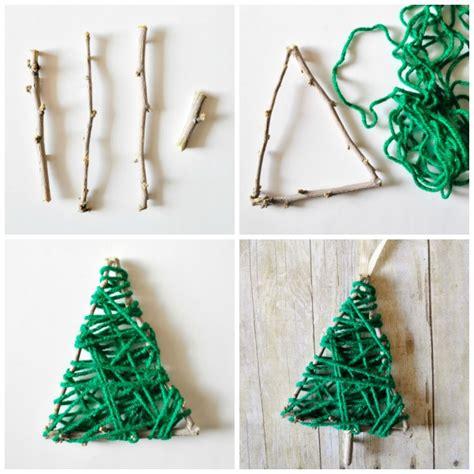 yarn wrapped christmas tree twig ornament i heart crafty