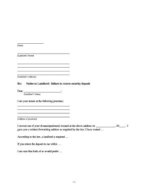 Demand Letter To Tenant Return Deposit To Tenant Fill Printable Fillable Blank Pdffiller