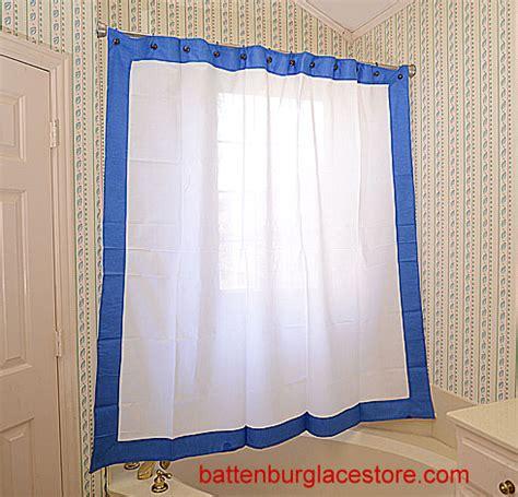 marina blue curtains shower curtains white color trim battenburg lace store