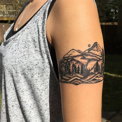 mountain scene tattoo wallowa wallowas mountains tattoos black and grey