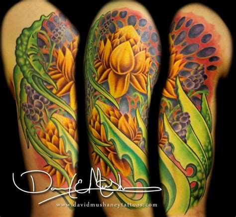 lotus tattoo half sleeve rebel muse tattoo tattoos david mushaney lotus