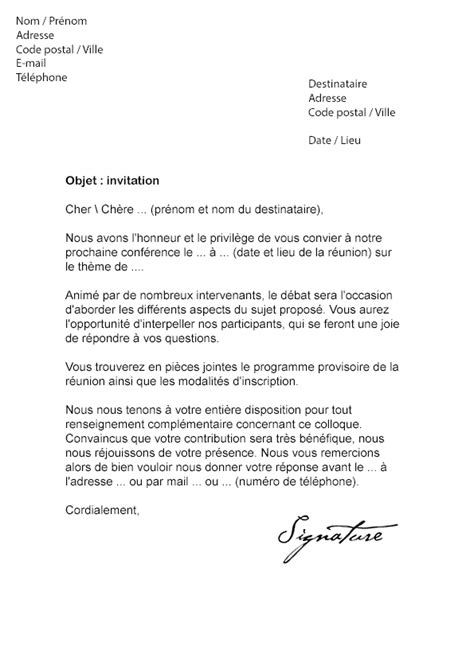 Exemple De Lettre D Invitation Colloque modele de lettre d invitation a une conference