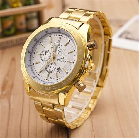 mens stainless steel analog quartz movement wrist
