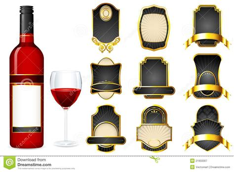 wine bottle with different blank label stock illustration