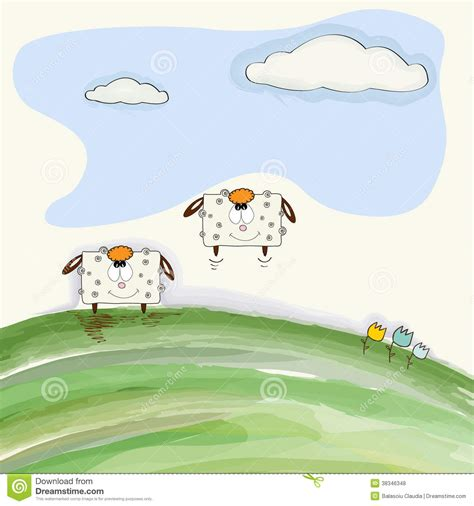 doodle bouncing doodle sheep bounce on meadow stock illustration