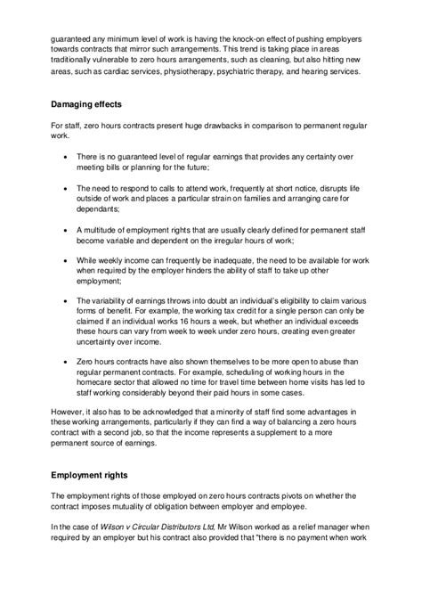 zero hours contracts factsheet unison