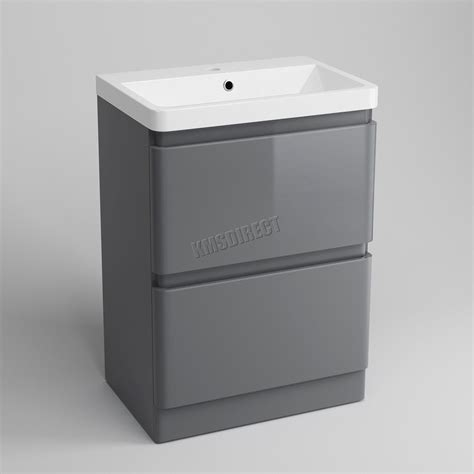 high gloss grey bathroom cabinets foxhunter vanity unit mdf high gloss 2 drawers basin