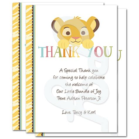 printable lion king thank you cards lion king baby shower personalized thank you cards