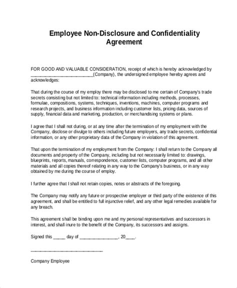 Sle Non Disclosure Agreement Form 8 Free Documents In Doc Pdf Confidentiality Non Disclosure Agreement Template