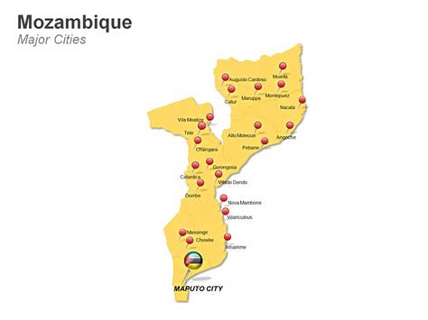 map of mozambique cities editable powerpoint map mozambique map editable
