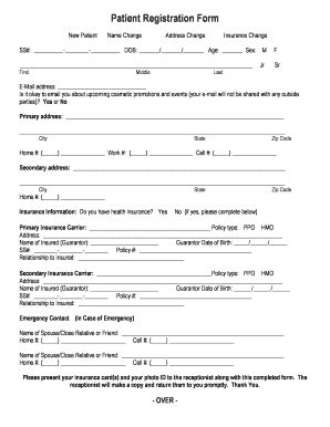 patient registration form ms word word excel templates