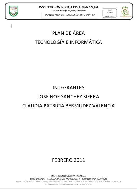 plan de area tecnologia e informatica plan de area tecnologia e informatica 2011 ie naranjal