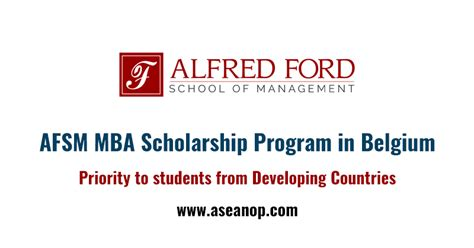 Mba Scholarships For Developing Countries by Afsm Mba Scholarship Program At Alfred Ford School Of