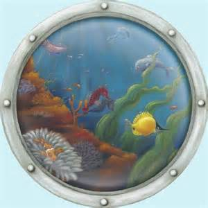 Large Winnie The Pooh Wall Stickers undersea animal porthole 2 peel and stick mural