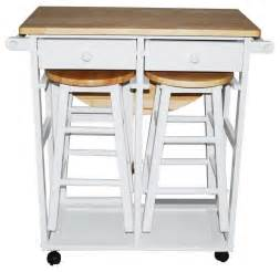 breakfast cart with table and 2 stools white