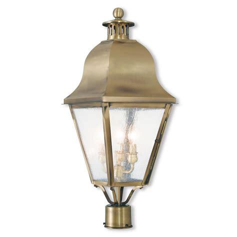 Antique Post Lights Outdoor Livex Lighting Amwell 3 Light Outdoor Antique Brass Post Light 2556 01 The Home Depot