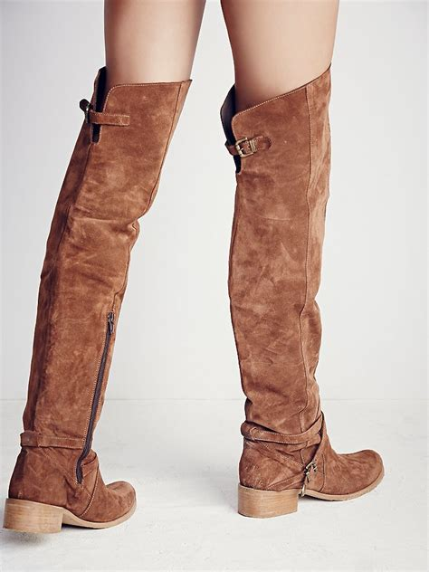 brown suede the knee boots free amorosa suede the knee boot in brown lyst