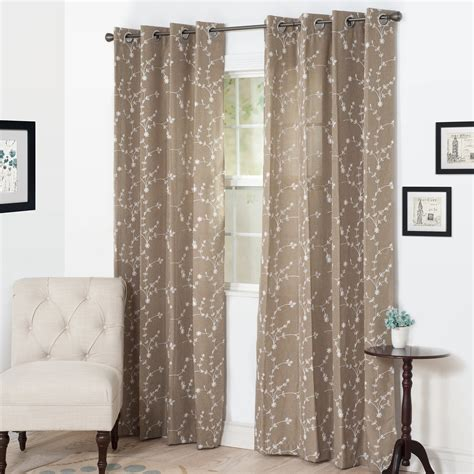 embroidered drapery panels lavish home inas embroidered curtain panel 84 quot taupe