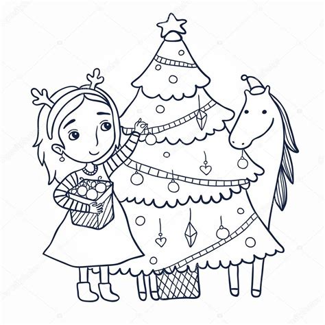 christmas picture outline decorates the tree outline stock vector 169 apolinarias 57814799