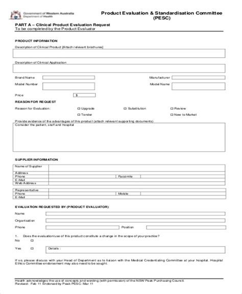 7 Sle Product Evaluation Forms Sle Templates Product Evaluation Template