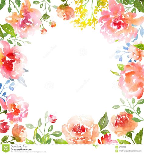 watercolor roses card template stock illustration image