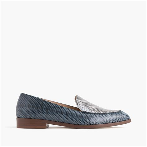 snakeskin loafers j crew collection snakeskin loafers in blue lyst